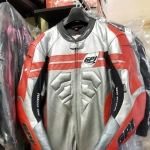 GPI leather race suit silver red